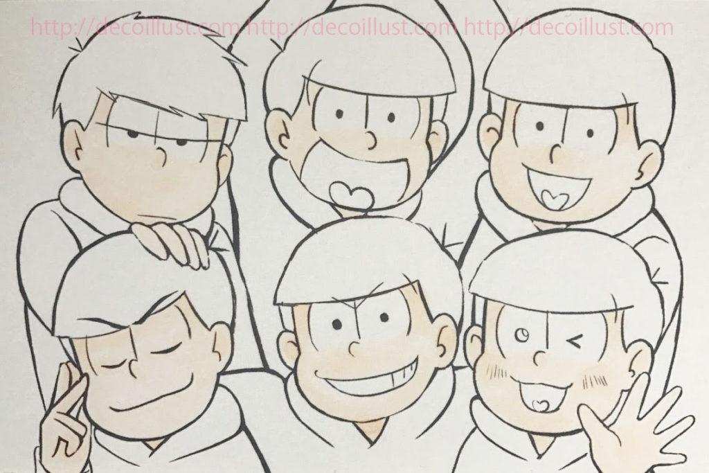 6つ子のイラストの描き方 工程1